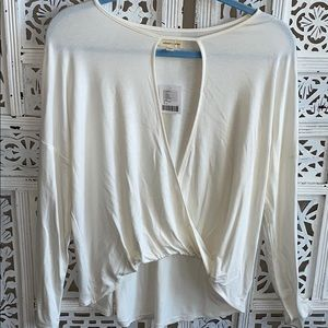 Off white open front layering top